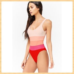 New Forever21 Pink Colorblock One Piece Swimsuit